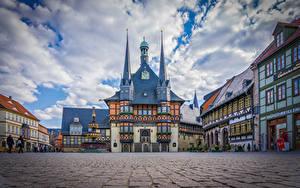 Фотография Германия Дома Часы Городской площади Wernigerode