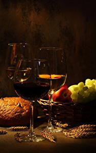 Фотография Вино Хлеб Фрукты Цветной фон Бокалы Три Колос Пища