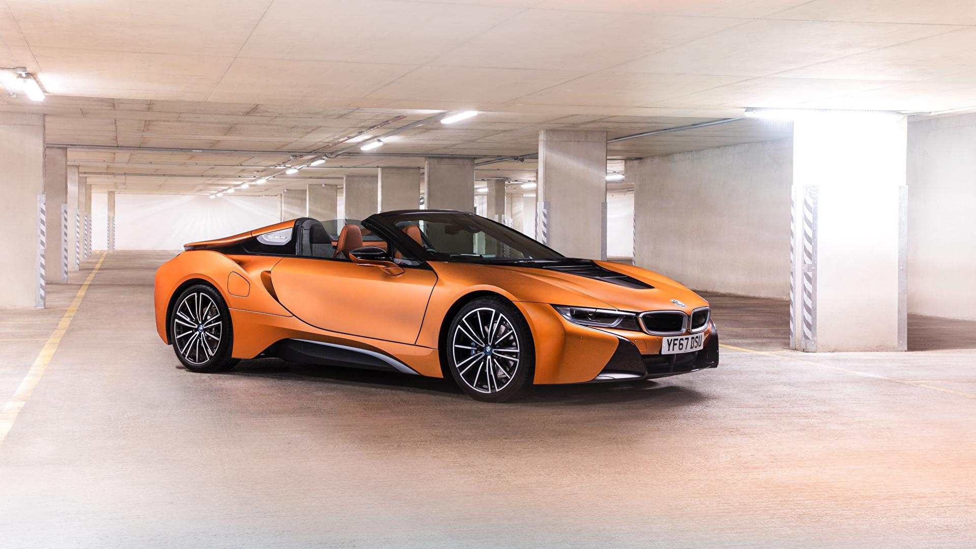 Фото BMW 2018 i8 Roadster Родстер Оранжевый авто 1920x1080 БМВ оранжевых оранжевые оранжевая машина машины автомобиль Автомобили