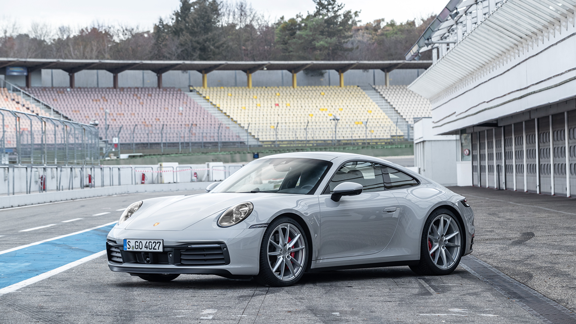 Фото Porsche 2019 911 Carrera S Worldwide серые авто Металлик 1920x1080 Порше Серый серая машина машины автомобиль Автомобили