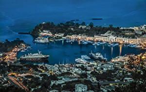 Фотографии Италия Здания Вечер Пирсы Корабли Залива Ischia Города