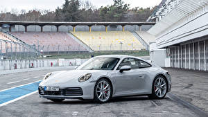 Фото Porsche Серые Металлик 2019 911 Carrera S Worldwide Автомобили