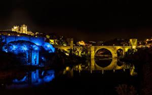 Обои Толедо Испания Здания Река Мост В ночи город