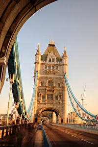Картинки Мосты Дороги Англия Лондон Tower Bridge Города