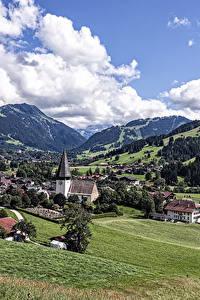 Фотография Германия Пейзаж Гора Дома Луга Облако Weissenburg