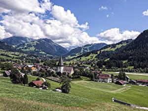 Фотография Германия Пейзаж Гора Дома Луга Облако Weissenburg город