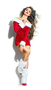 Картинка Новый год Шатенки Униформе Сапоги Белым фоном молодая женщина