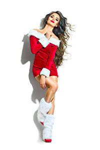 Картинка Новый год Шатенка Униформа Сапоги Белый фон Девушки