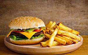 Фотография Гамбургер Булочки Картофель фри Быстрое питание Еда