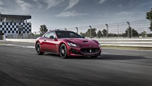 Фотографии Maserati Бордовая Металлик Едущая 2017 GranTurismo Sport  Special Edition автомобиль
