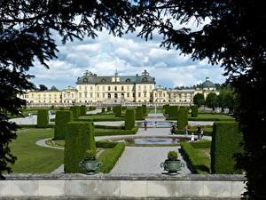 Обои Парки Фонтаны Швеция Стокгольм Дизайна Дворца Ветвь Кустов Drottningholm город