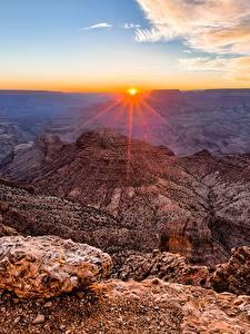 Картинка Гранд-Каньон парк США Горы Рассветы и закаты Пейзаж Каньон Arizona