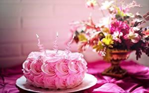 Фотографии День рождения Торты Розы Свечи Пламя Розовый