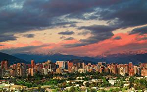 Обои Чили Сантьяго Здания Горы Облачно Города