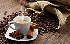 Картинки Кофе Корица Пары Зерна Чашке Блюдце