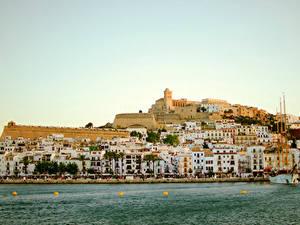 Фотографии Испания Здания Море Пирсы Ibiza город