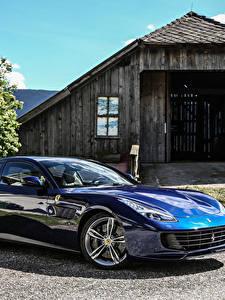Картинки Ferrari Синий Металлик 2016 GTC4 Lusso Автомобили
