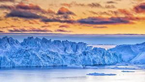 Фотографии Гренландия Небо Залив Лед Облачно Природа