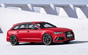 Картинки Audi Красный Универсал Avant RS6 2015