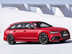Картинки Audi Красный Универсал Avant RS6 2015 Автомобили
