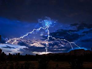 Фотографии Небо Ночные Молния Облака Природа
