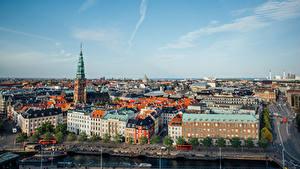 Картинки Дания Копенгаген Здания Пристань Улиц Сверху