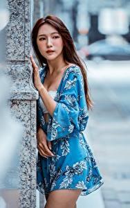 Фотография Азиатки Размытый фон Шатенка Руки Смотрит молодая женщина