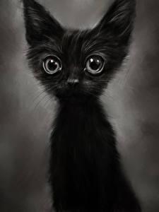 Картинки Коты Рисованные Котята Черный Взгляд Животные