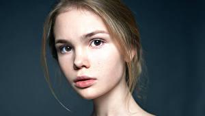 Картинки Взгляд Лицо Русые Красивые Alexander Vinogradov Девушки