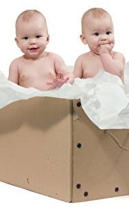 Фото Белый фон Коробка Грудной ребёнок Двое