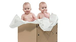 Обои для рабочего стола Белый фон Коробки Младенец Двое ребёнок