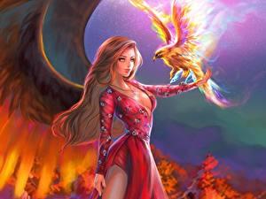 Картинки Волшебные животные Птицы Крылья Платье Фантастика Девушки