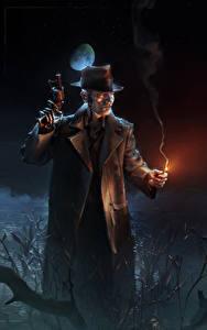 Картинка Мужчины Пистолеты Fallout 4 Ночь Шляпа Робот Игры Фэнтези