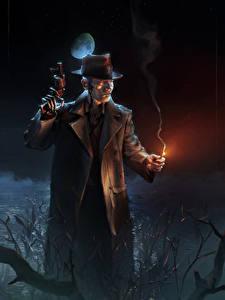 Картинка Мужчины Пистолет Fallout 4 Ночью Шляпы Робот компьютерная игра Фэнтези
