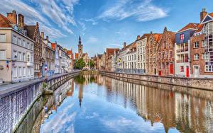 Фото Бельгия Дома Водный канал Улица Bruges