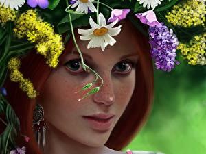 Картинки Рисованные Рыжих Венком Взгляд Красивая Девушки