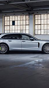 Обои для рабочего стола Porsche Металлик Сбоку Серебристый Panamera 4 E-Hybrid Sport Turismo, 2020 Автомобили