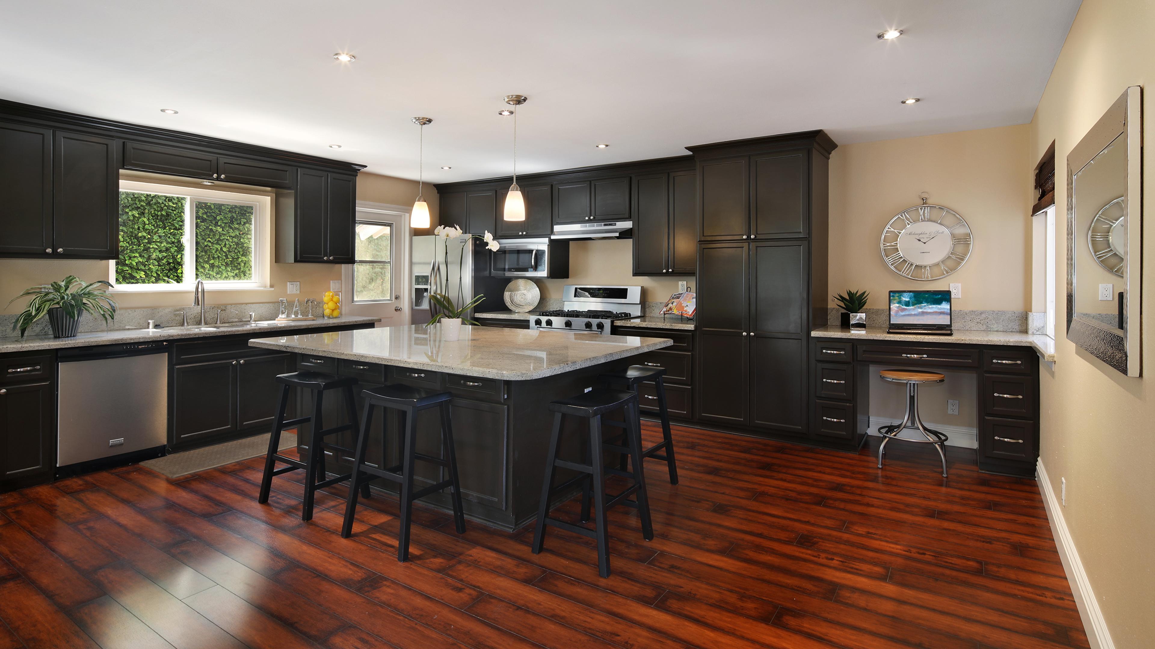 Картинки Кухня Интерьер стола Стулья Дизайн 3840x2160 кухни Стол стул столы дизайна