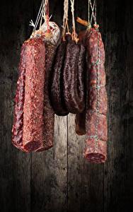 Фотография Мясные продукты Колбаса Доски Еда
