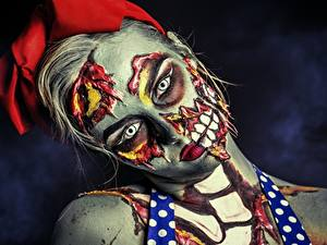 Обои Зомби Лицо Макияж Взгляд Девушки