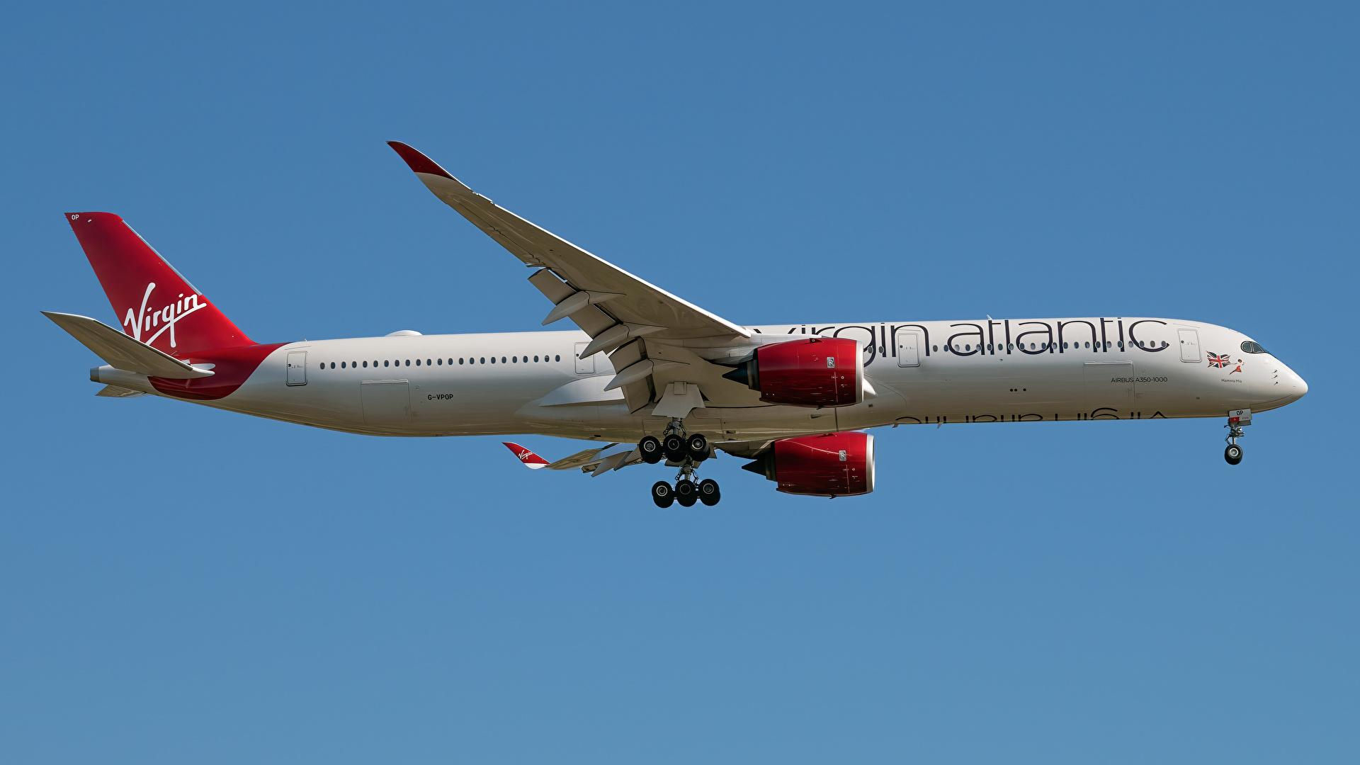 Фотографии Эйрбас Самолеты Пассажирские Самолеты A350-1000, Virgin Atlantic Сбоку Авиация 1920x1080 Airbus
