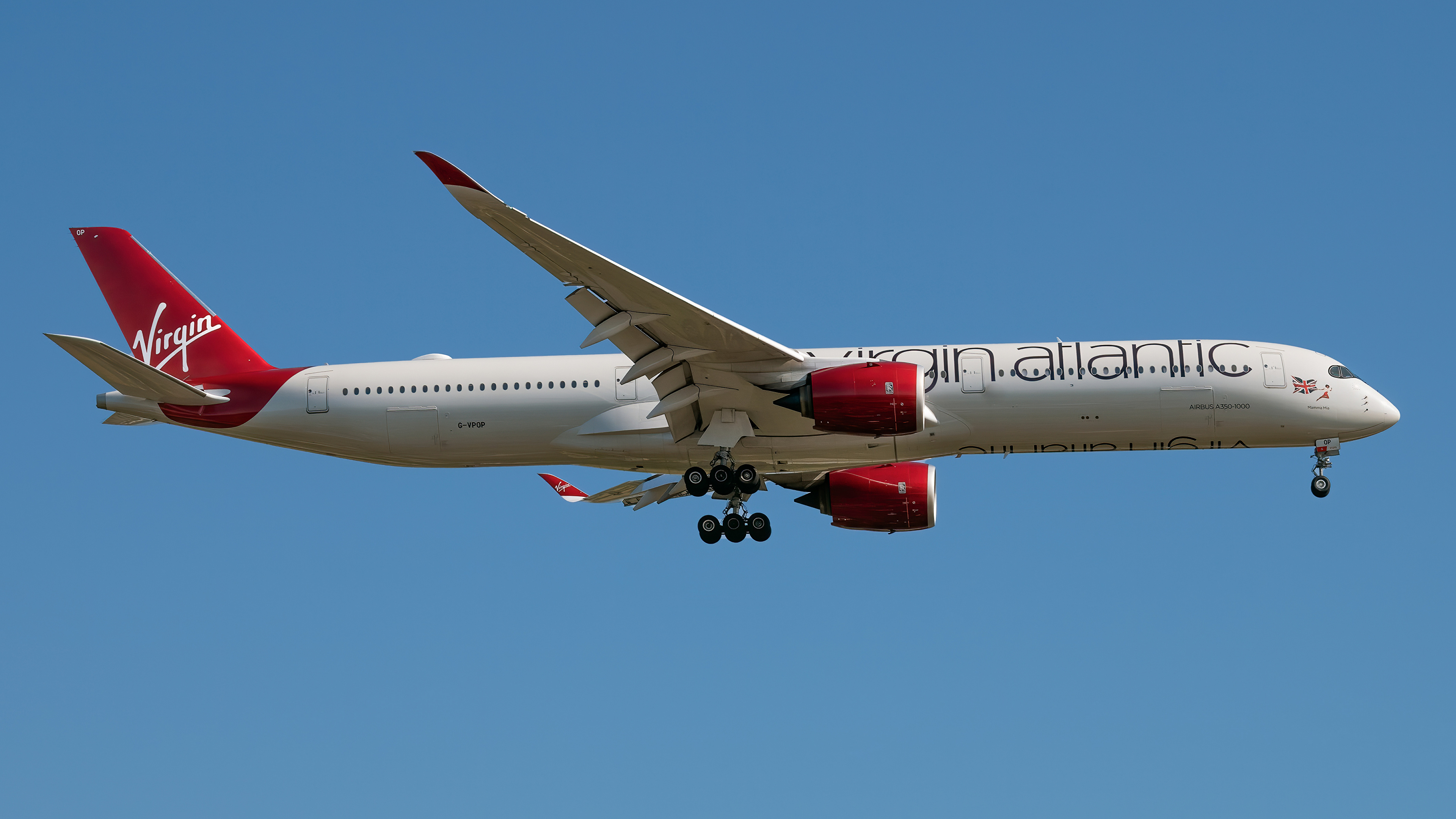 Фотографии Эйрбас Самолеты Пассажирские Самолеты A350-1000, Virgin Atlantic Сбоку Авиация 3840x2160 Airbus