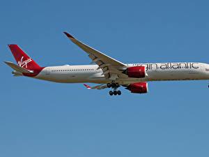 Фотографии Эйрбас Самолеты Пассажирские Самолеты Сбоку A350-1000, Virgin Atlantic