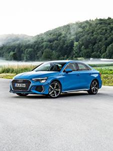 Обои Audi Голубая Металлик A3 Sedan 35 TDI S line Worldwide, 2020 машины