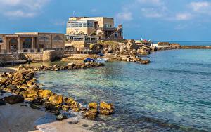 Фотографии Израиль Побережье Здания Камень Caesarea