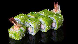 Обои Морепродукты Суши На черном фоне Пища