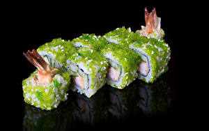 Обои Морепродукты Суши Черный фон Пища