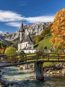 Фото Реки Мост Гора Осенние Германия Церковь Бавария St. Sebastian, Ramsau