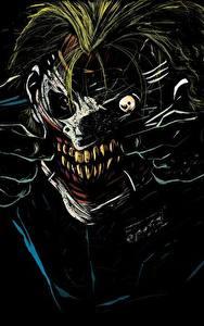 Картинки Герои комиксов Джокер Лицо Зубы Черный фон Страшные Фэнтези