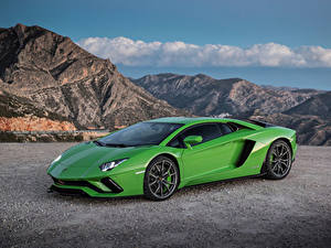 Обои Ламборгини Зеленый Металлик 2017-19 Aventador S Worldwide Автомобили